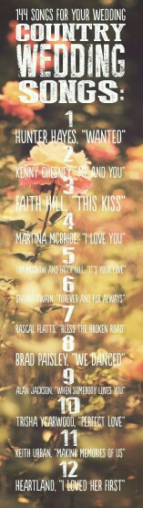 A few country wedding songs