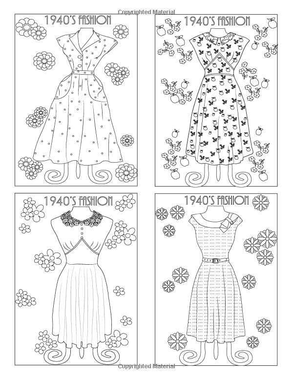 Vintage Patterns Coloring Pages. Vintage Dresses  An Adult Coloring Book 20 by BethIngrias Pin Jada Gunter on coloring pages Pinterest
