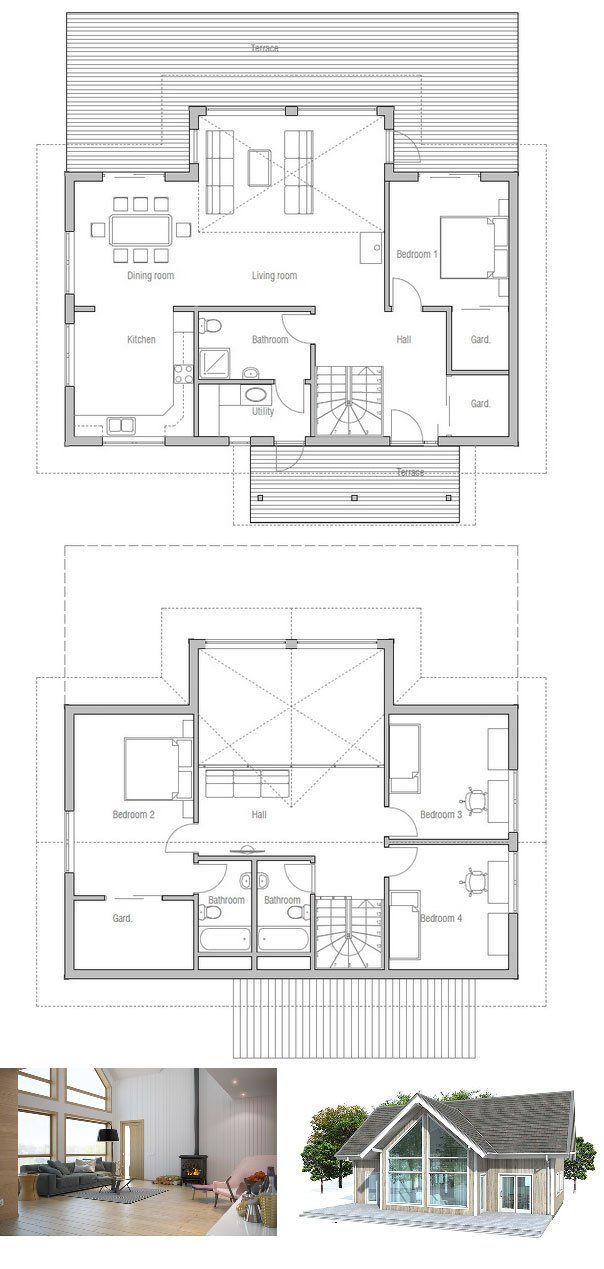 Small house plan with four bedrooms vaulted high ceiling for Small living room floor plan