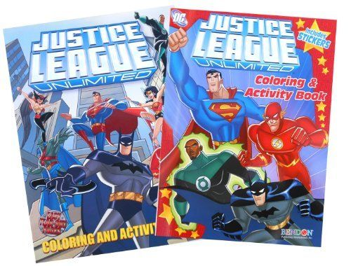 Dc Comics Justice League Unlimited Heroes Coloring Book Set One 72 Page Book And One 24 Page Book With Over 30 Stick Coloring Book Set Coloring Books Game Art