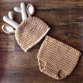 Ravelry: Deer Diaper Cover and Hat Set pattern by Shannon Corcoran Family Traditions Crafts #dollunderware