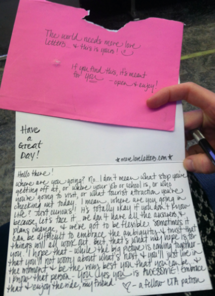 Love Letter Found Chicago IL 3 5 14 — THE WORLD NEEDS MORE