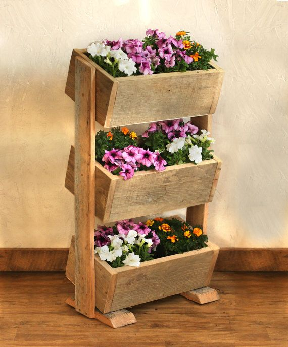 Barn Wood Planter Box This 3 tier planter box makes the most of limited space by & Barn Wood Planter Box This 3 tier planter box makes the most of ... Aboutintivar.Com