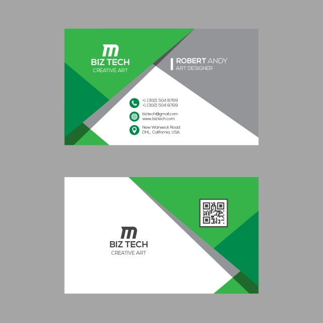 Modern Business Card Template Green Colors Modern Business Cards Business Card Template Business Cards Vector Templates