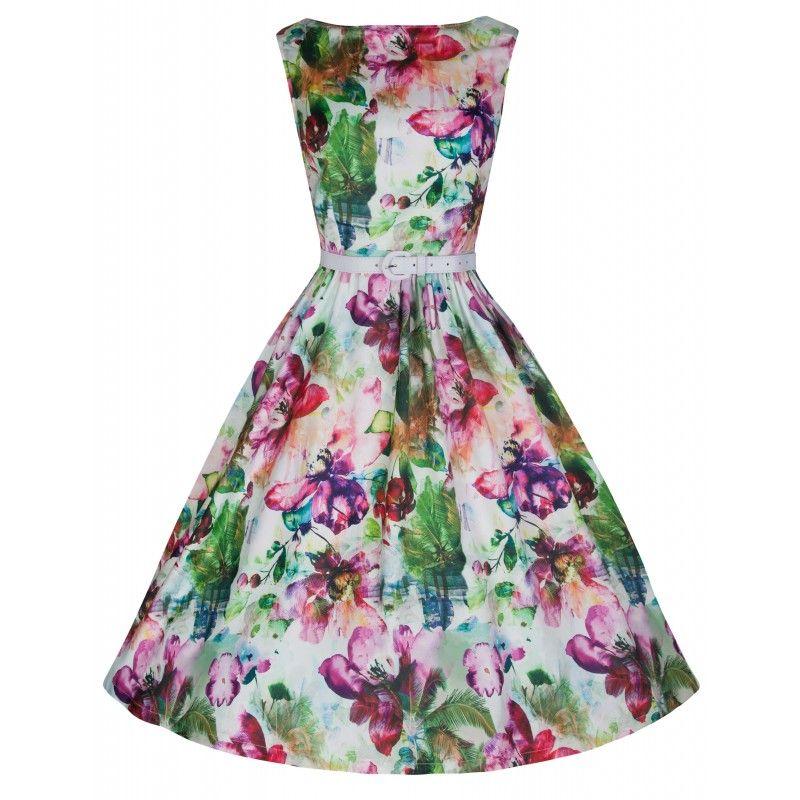 Barevné květinové šaty Lindy Bop Audrey Retro šaty ve stylu 50. let.  Nádherné šaty s květinovým potiskem pro romantické duše f691653e32