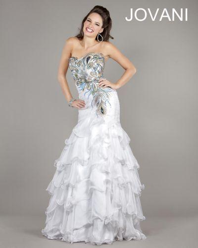 055deb4b95b White Peacock Wedding Dress Jovani formal dress 111049