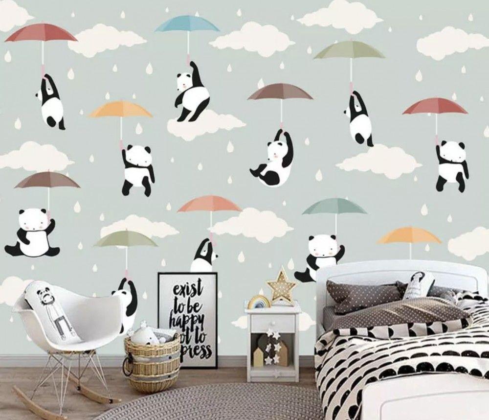 Kids Pandas With Colorful Umbrella Wallpaper Mural in 2020