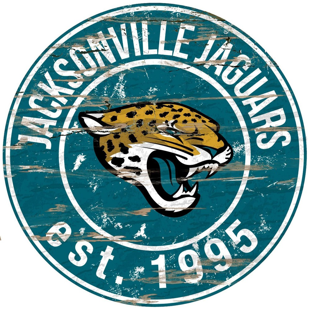 Nfl Jacksonville Jaguars Fan Creations Round Distressed Sign With Images Distressed Wall Art Jacksonville Jaguars Jaguars