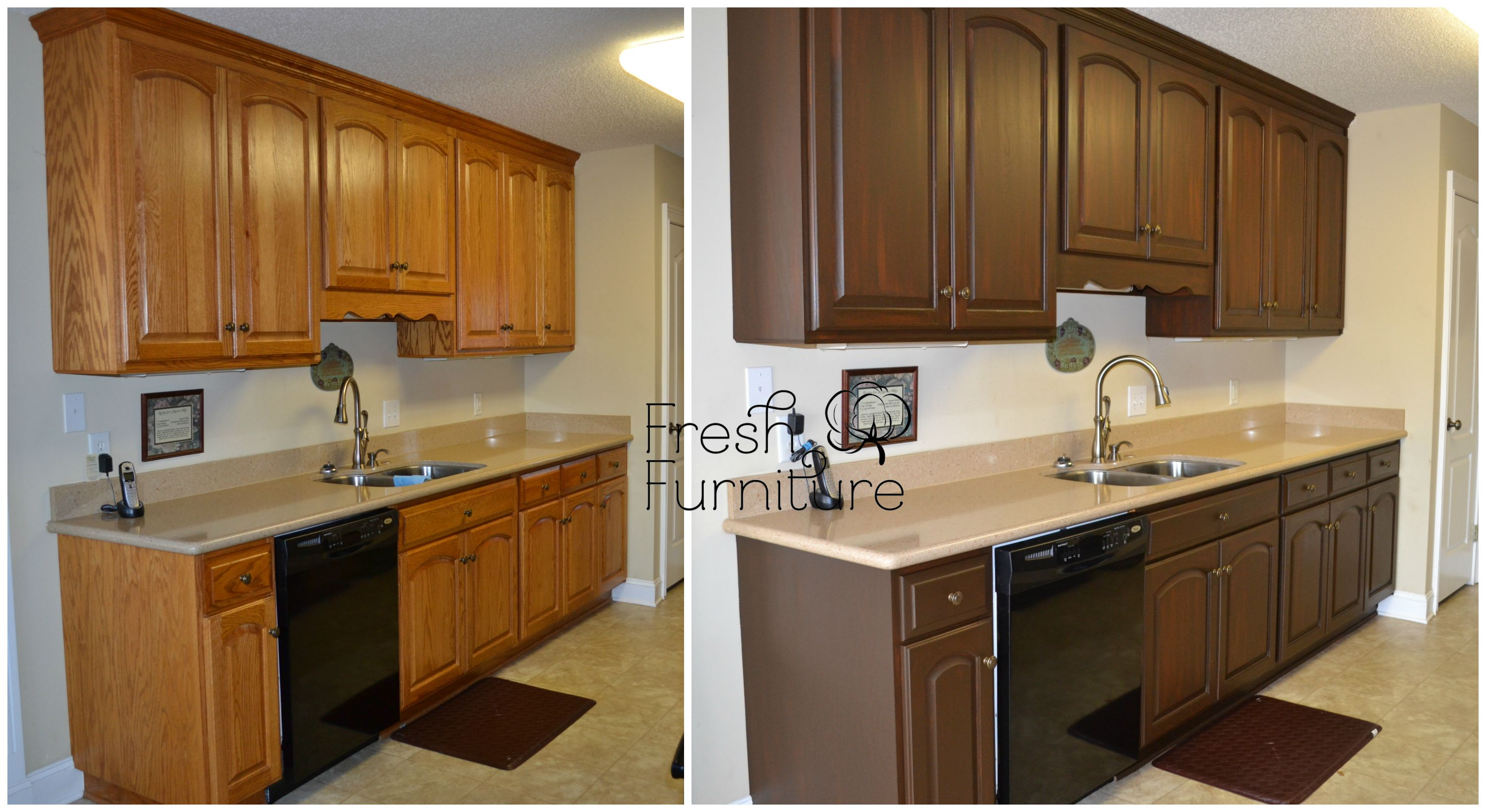 painting vs staining kitchen cabinets oak cabinet makeover with general finishes antique walnut 7371