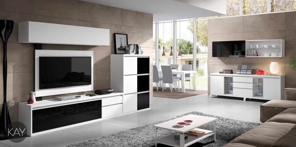 Muebles de salón blancos combinados con frentes color negro del ...