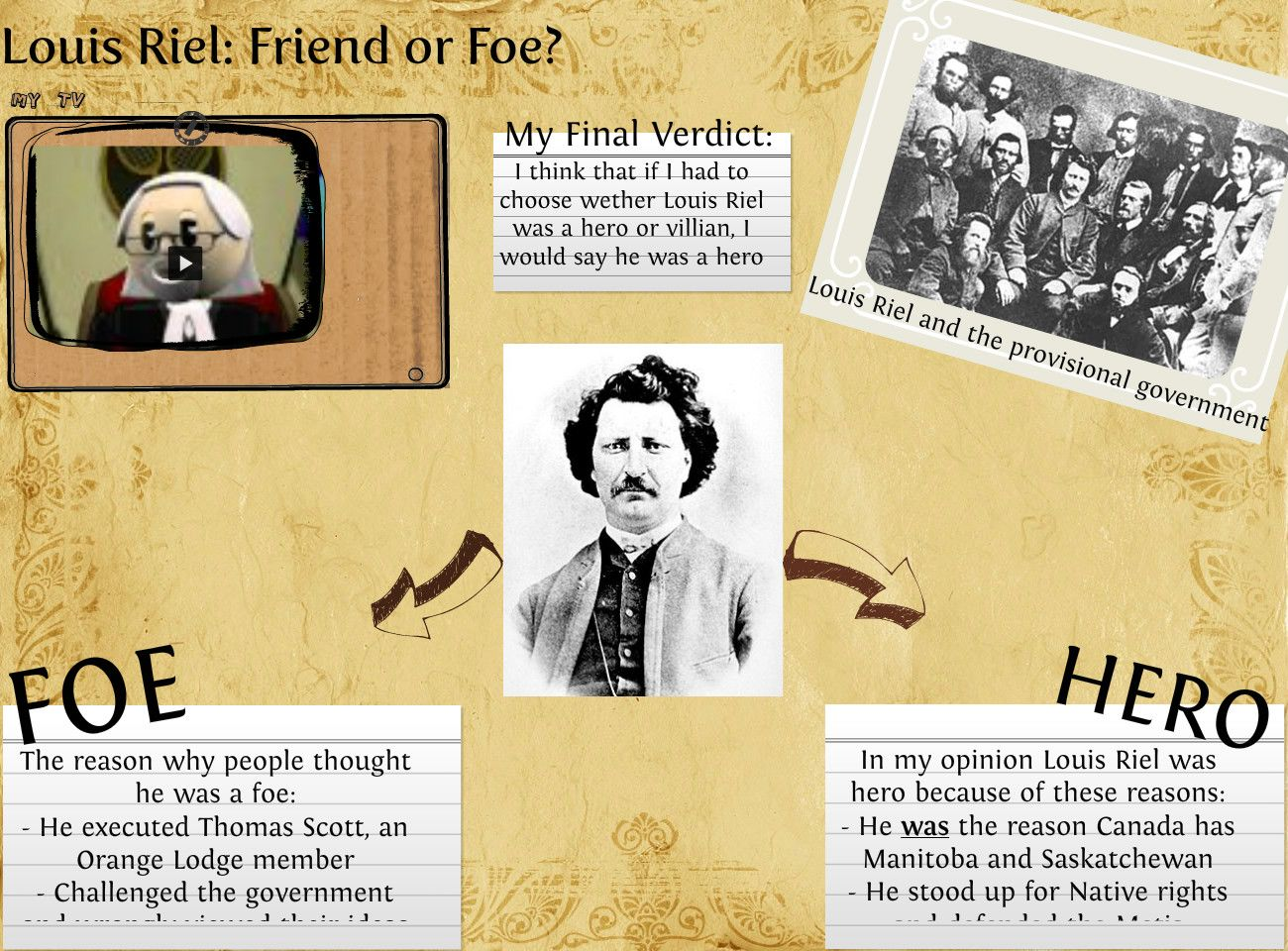 louis riel a hero Grade 8 history class while examining a louis riel  some people consider  louis riel a true canadian hero, while others see him as a.