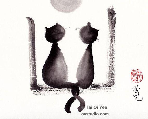 Titel: Samen We zullen oud Artiest: Oi Yee Tai. Artists website: oystudio.com  Dit is een afdruk van mijn oorspronkelijke sumie katten schilderen. Het is afgedrukt op 8 x 10 zure gratis 98lb 160gsm papier met archival inkten. Copyright watermerk verschijnt niet op de werkelijke illustraties. De lettertjes ook afzonderlijk zal worden ondertekend op de rug samen met de titel 與子偕老 samen We groeien oude met de hand geschreven in Chinese inkt   Dit is geïnspireerd door een citaat uit de Chinese…