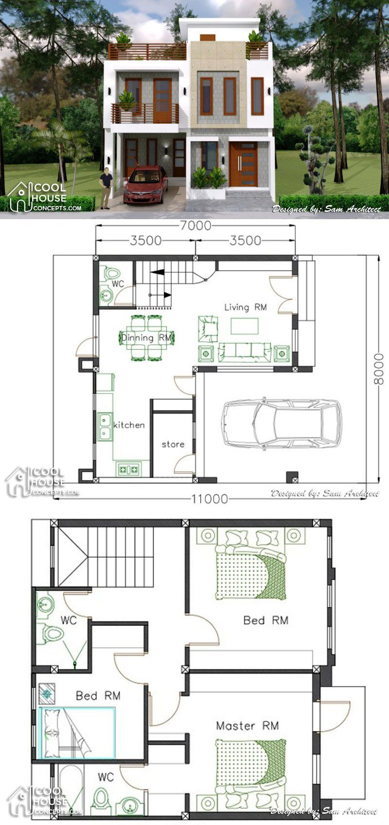 Single Attached Two Storey Concept With 3 Bedrooms Two Story House Design Simple House Design 3 Storey House Design