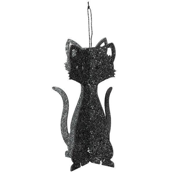 3D Black Glitter Cat Decoration Black glitter and Decoration
