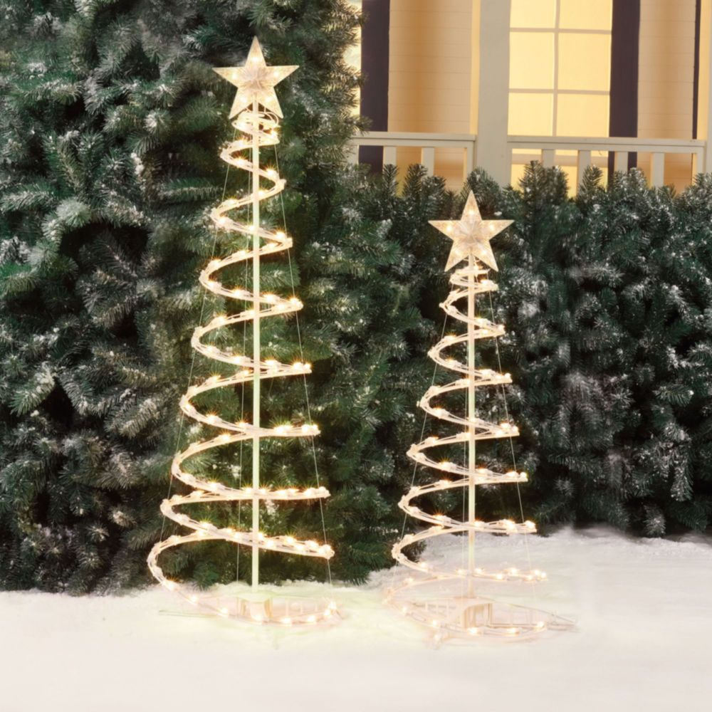 spiral christmas trees set outdoor plastic led clear lights holiday xmas decor spiralchristmastrees - Outdoor Christmas Spiral Tree Decorations