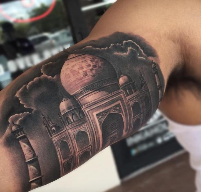 Taj Mahal Tattoo Inkstylemag Temple Tattoo Black And Grey Tattoos Tattoos