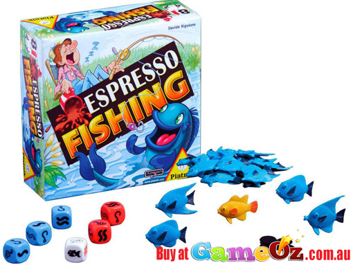 Espresso+Fishing+Game+by+Piatnik  Test+your+luck+and+roll+the+dice.+The+player+with+the+most+fish+wins!  Players:+2-5  Ages:+8+