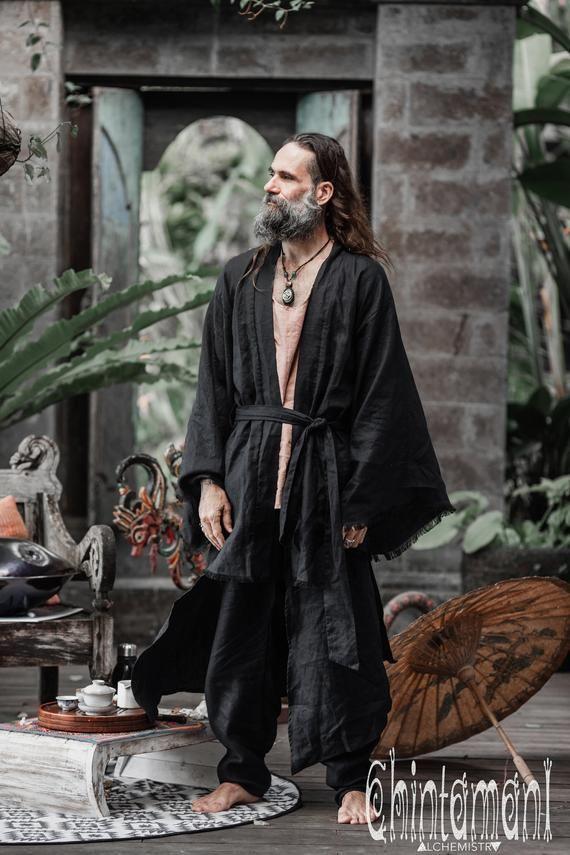 Black Linen Kimono ∆ Men Jacket ∆ Japanese Kimono