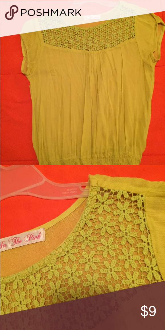Yellow blouse with a nice flowery detail on top Yellow blouse with a nice flowery detail on top Tops Blouses