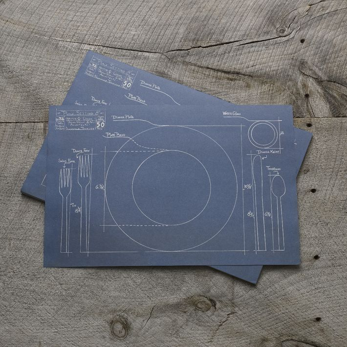 Blueprint placemats know exactly where everything should go on kitchen paper placemats blueprint pretty in paper covered in clever prints of pretty place settings these kitchen paper placemats are disposable after malvernweather Image collections