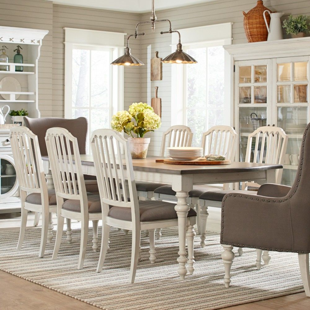 Hancock Park Wood Rectangular Dining Table In Vintage White By Magnussen  Home
