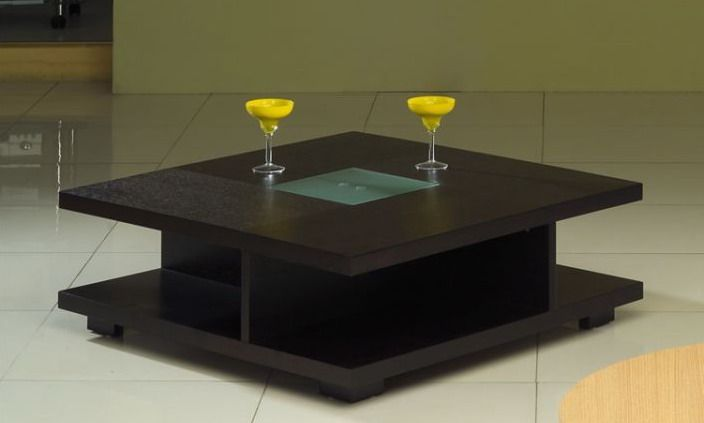 Square Black Wood Coffee Table With Glass Center Living