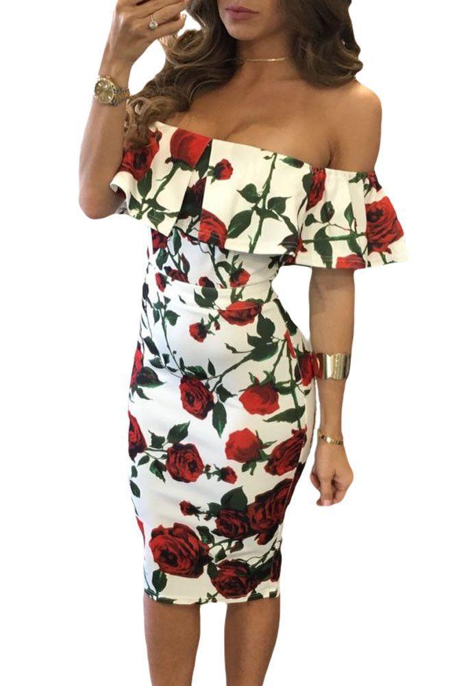 187fc3fb26 Chicloth Red Rose Print Frilled Off Shoulder Boho Dress