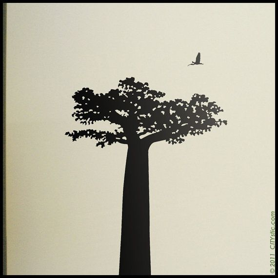 Baobab Tree From Madagascar With Birds Decal Lemur Decal