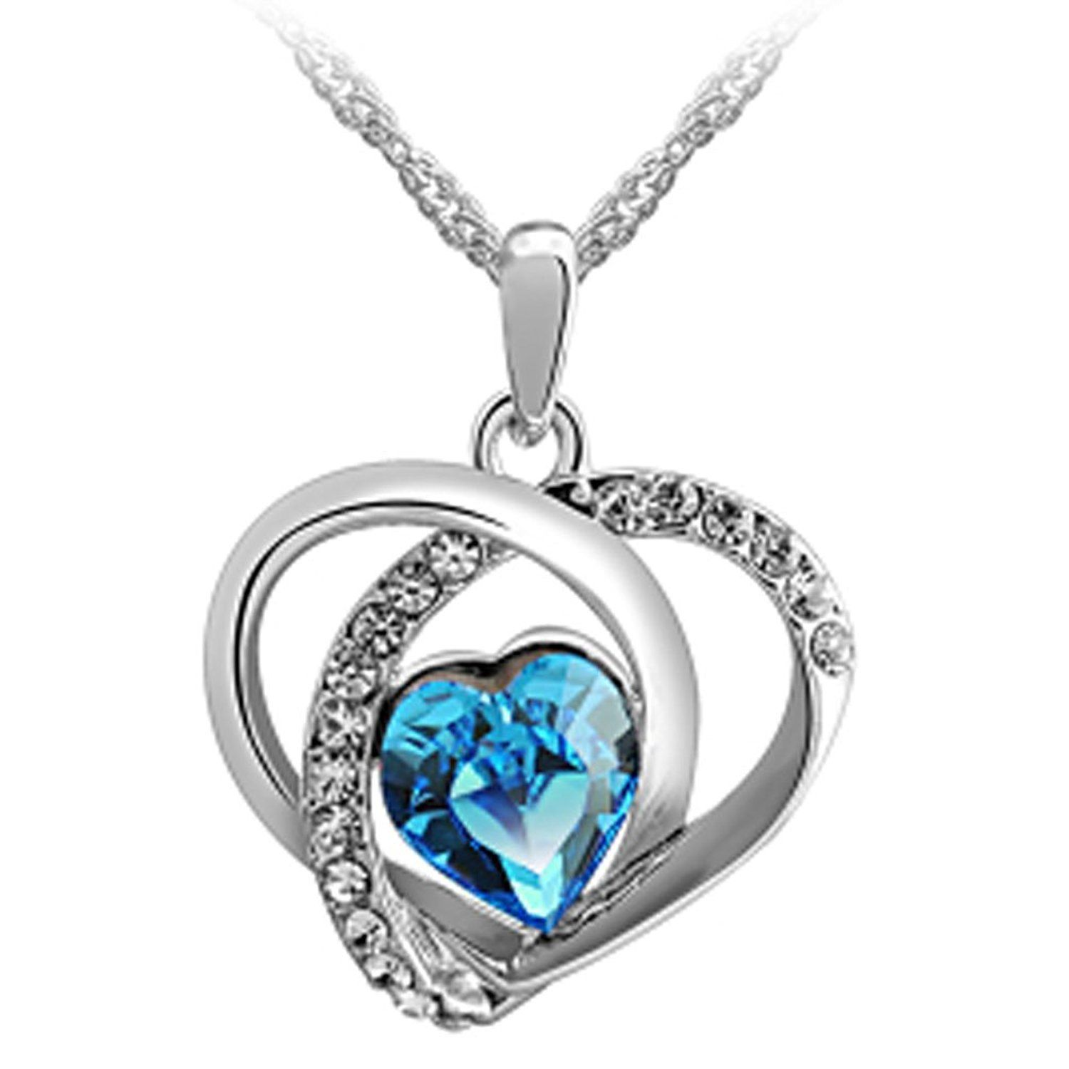 Latigerf Women's White Gold Plated Blue Swarovski Elements Crystal Double Heart Necklace Pendant for Her ** Find out more details by clicking the image : Jewelry Necklaces
