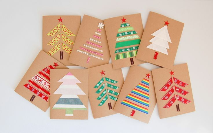 Make your own Christmas Cards using kraft paper, ribbons and fabric