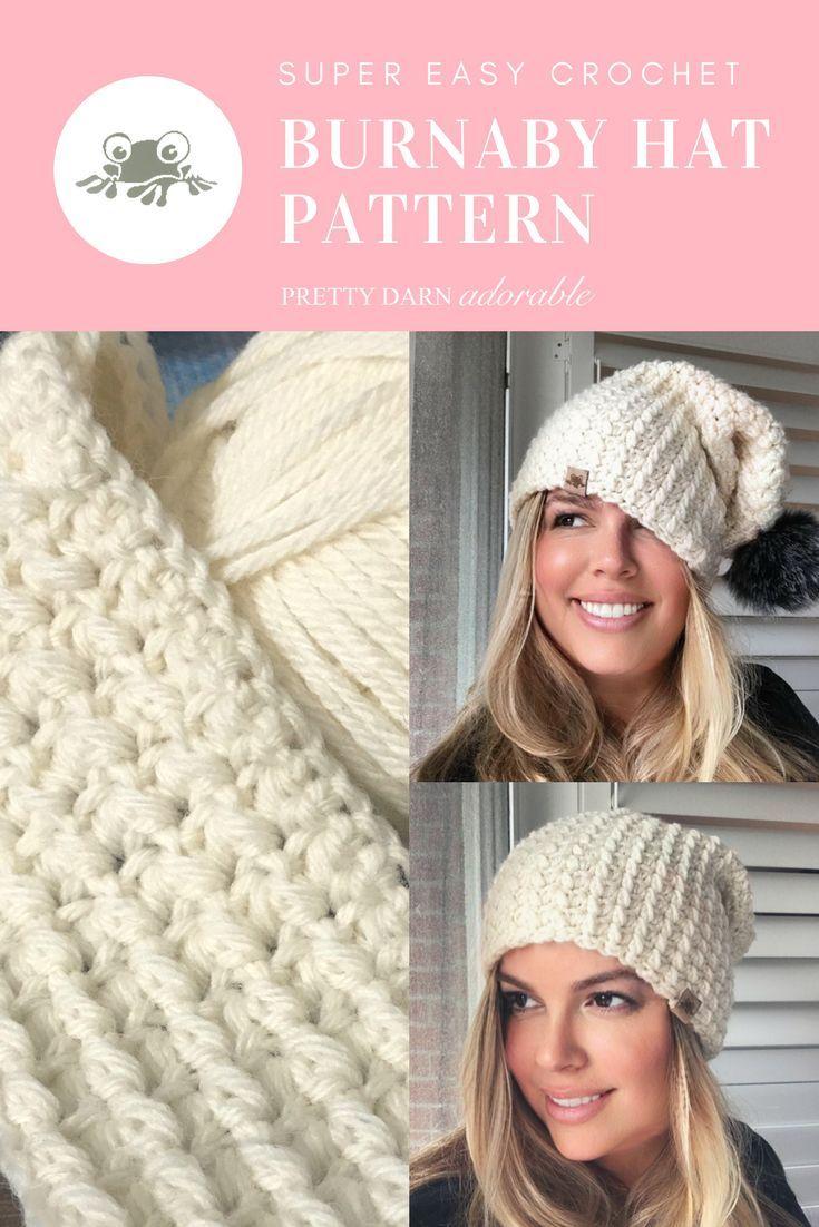 CROCHET HAT PATTERN Burnaby Crochet Slouchy Hat Pattern Ladies ...