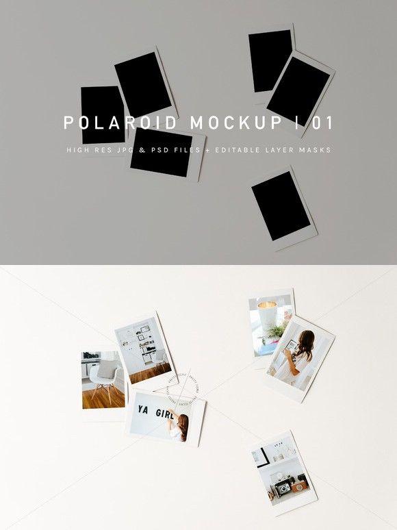 Polaroid Pile Mockup | PSD & JPG | blogger photos, styled ...