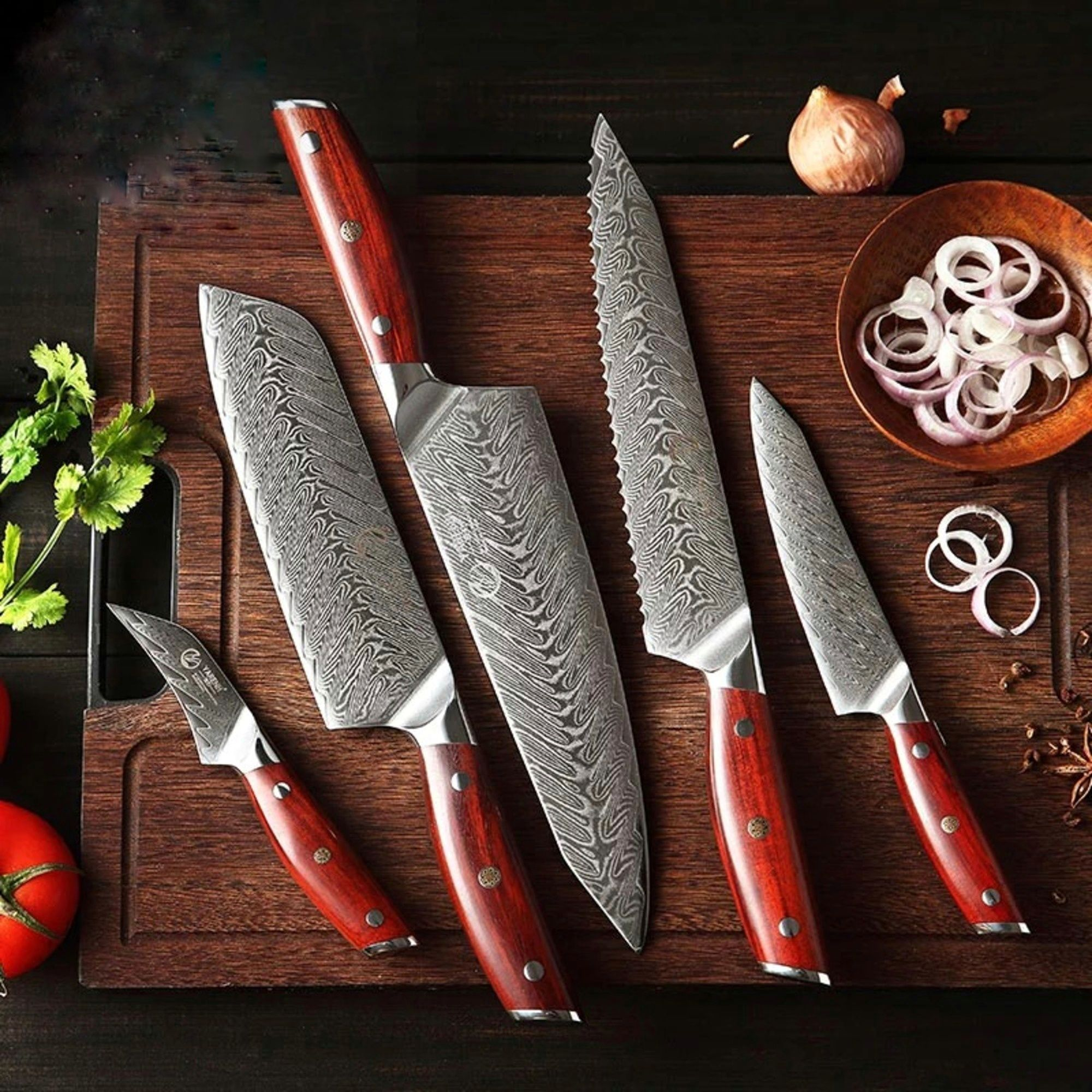 5 Pcs High Quality Damascus Steel Kitchen Knife Set With Gift Etsy Knife Set Kitchen Damascus Steel Kitchen Knives Damascus Chef Knives