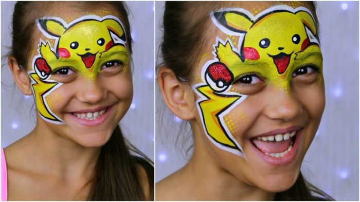 Halloween Makeup Children A Pikachu Make Up With Put Out Tongues Hair Pikachu Face Painting Face Painting Halloween Face Painting Tutorials