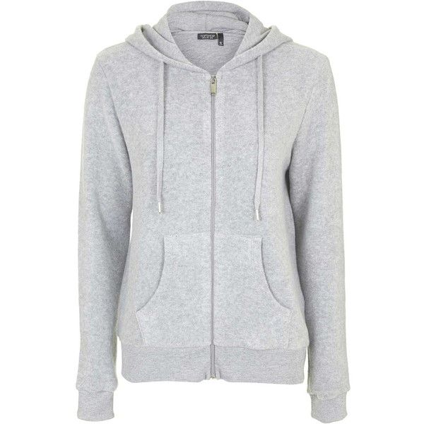 ced41e40 TOPSHOP Brushed Zip Up Hoodie ($45) ❤ liked on Polyvore featuring ...