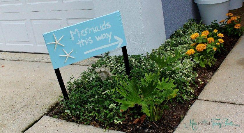 Little Mermaid Under the Sea Birthday Party Entryway Mermaid Sign   missfrugalfancypants.com