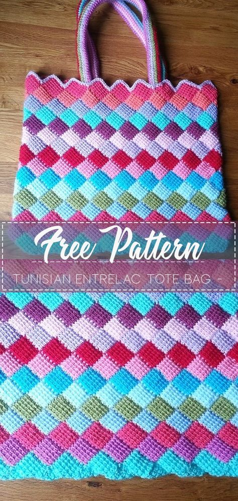 Tunisian Entrelac Tote Bag – Pattern Free  #tunisiancrochet