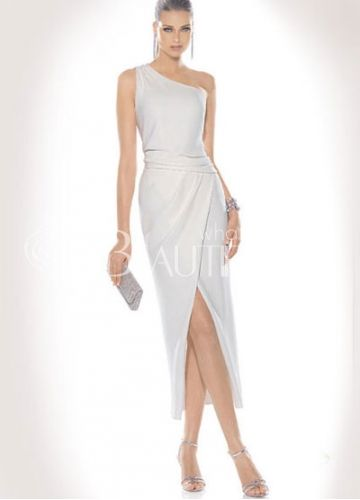White one shoulder long dress with butterflies on the bottom