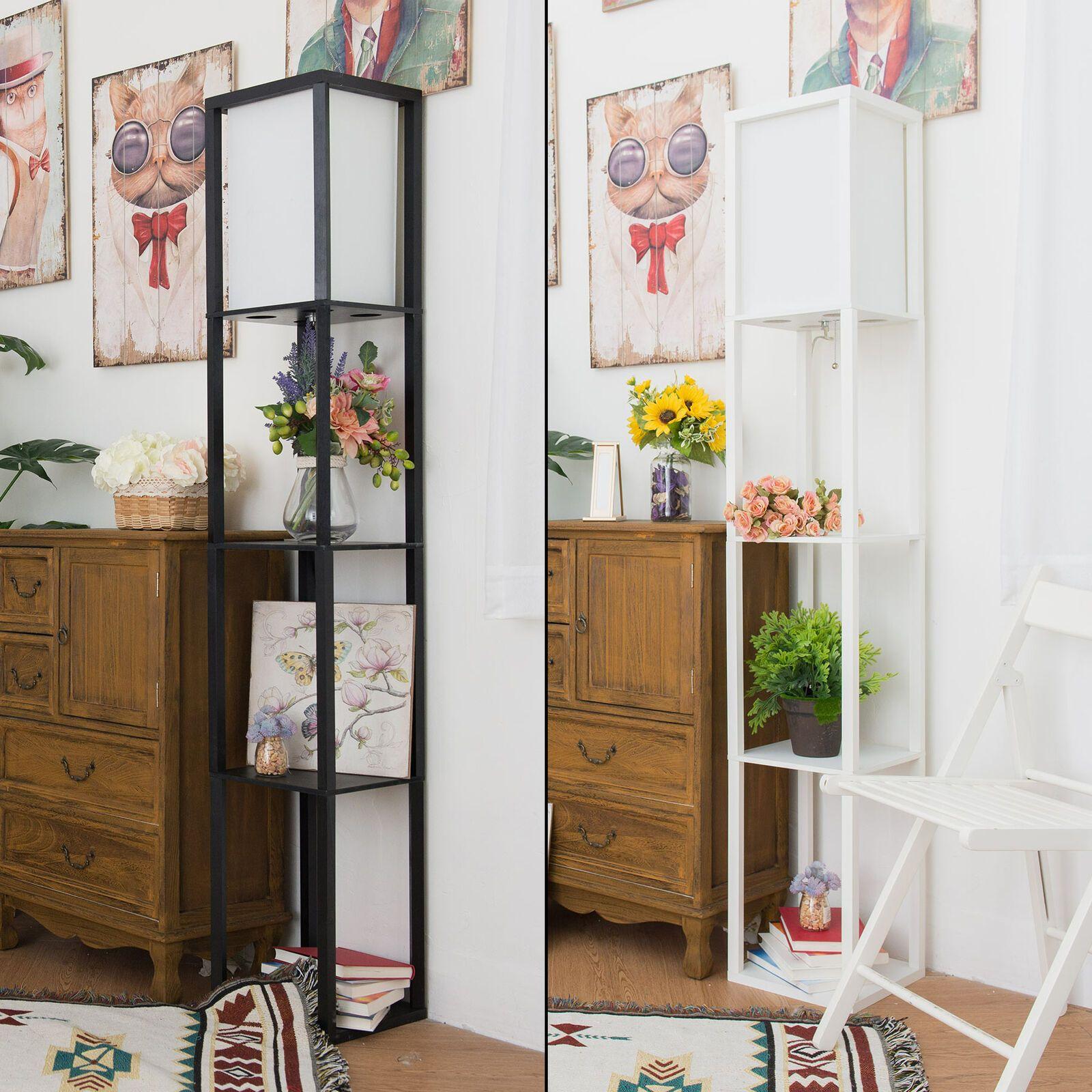 Led Floor Lamp Shelf Wood Standing Light For Reading