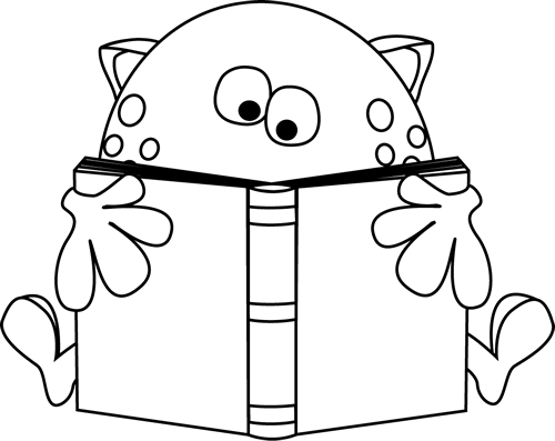 Black And White Monster Reading A Book Clip Art Black And White Monster Reading A Book Image Book Clip Art Monster Quilt Monster Coloring Pages