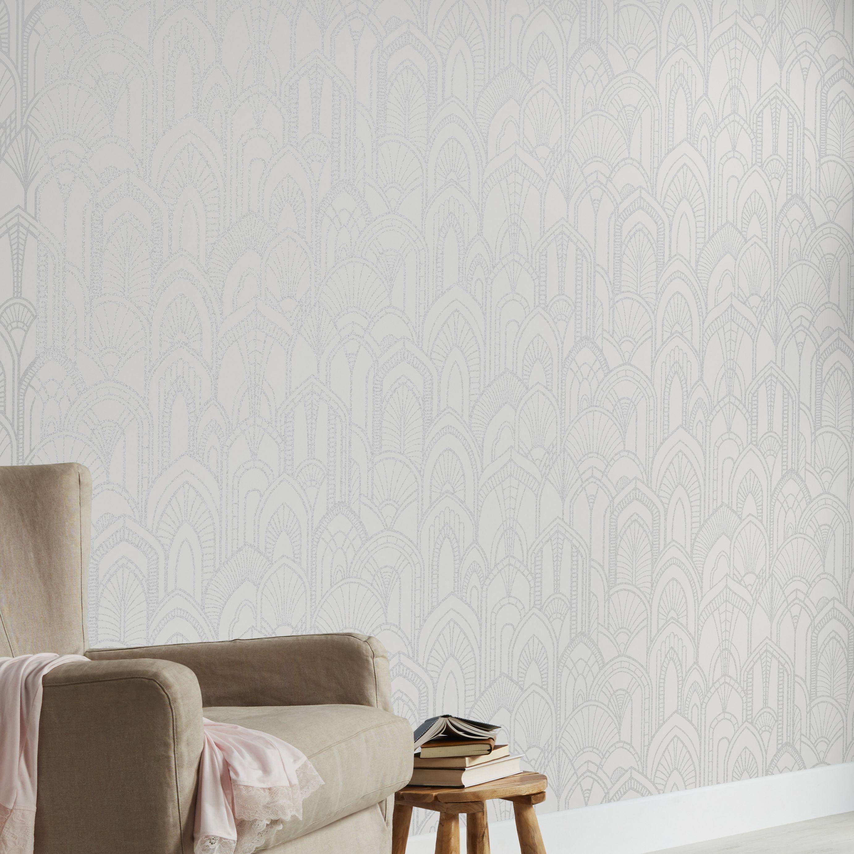 Goodhome Djinga White Art Deco Silver Effect Textured Wallpaper White Art Textured Wallpaper Art Deco