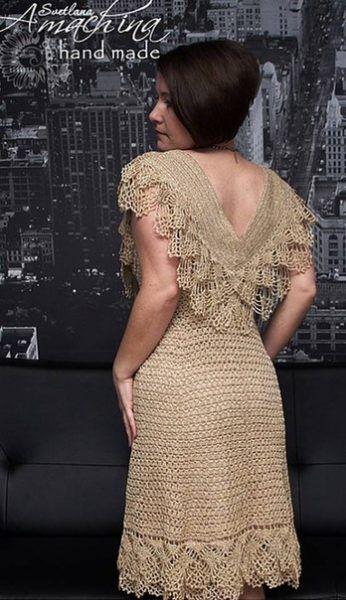 Платье с оборками крючком. Нарядное платье крючком со схемами   Я Хозяйка