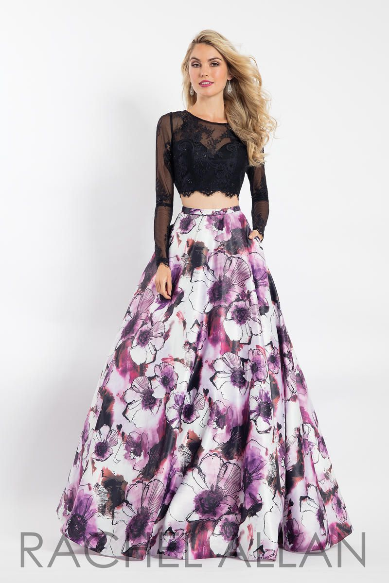 Rachel Allan 6201 is a 2 piece prom gown that has a lace long sleeve crop  top with keyhole back and a bold floral print matte satin A-line skirt. 5e96534e029d