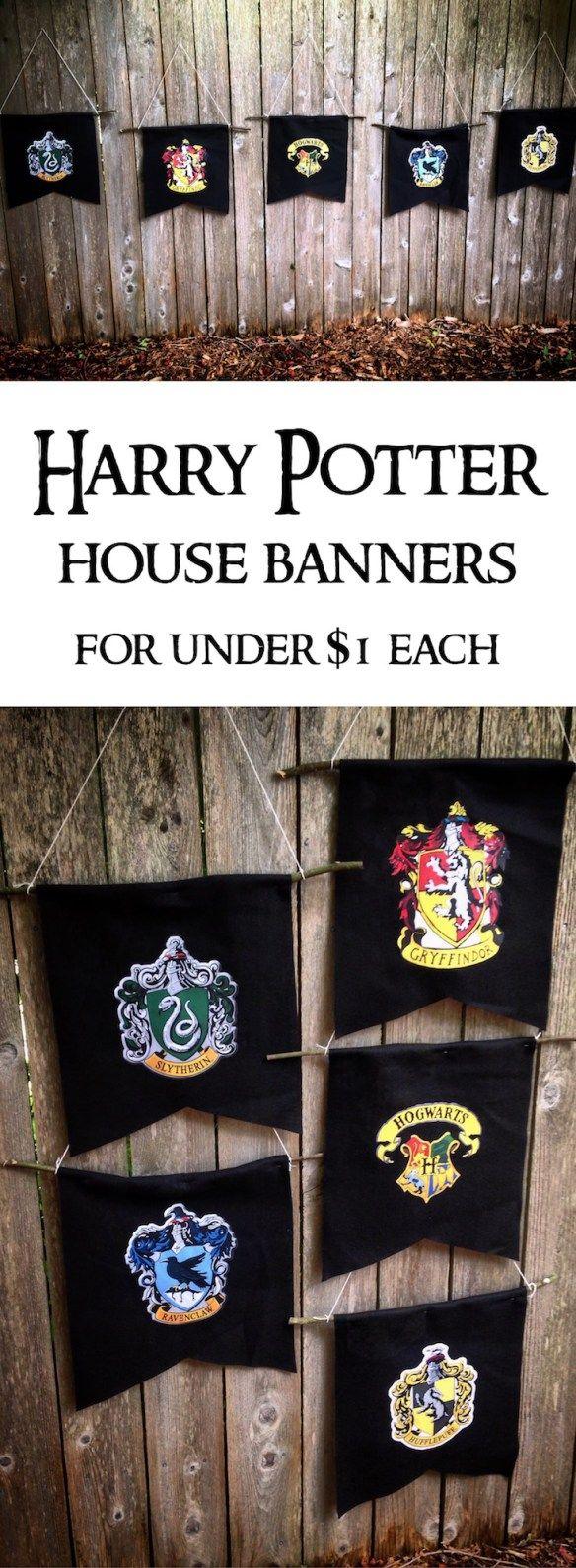 Harry Potter Hogwarts House Banners DIY | Harry potter ...