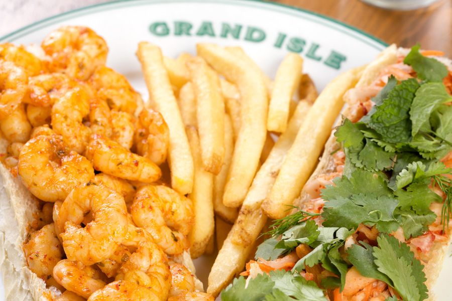Lobster Roll and Fried Shrimp Po-Boy. Don't forget the fries!