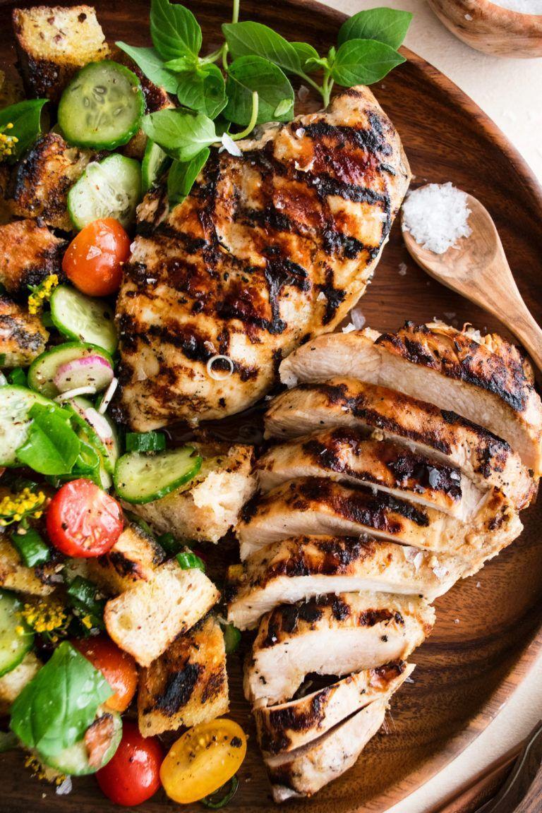 Grilled Chicken With Garden Panzanella The Original Dish Recipe In 2020 Summer Chicken Recipes Easy Chicken Recipes Best Healthy Dinner Recipes
