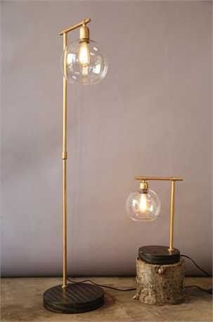 Metal Floor Lamp With Wooden Base Glass Globe Edison Bulb Included