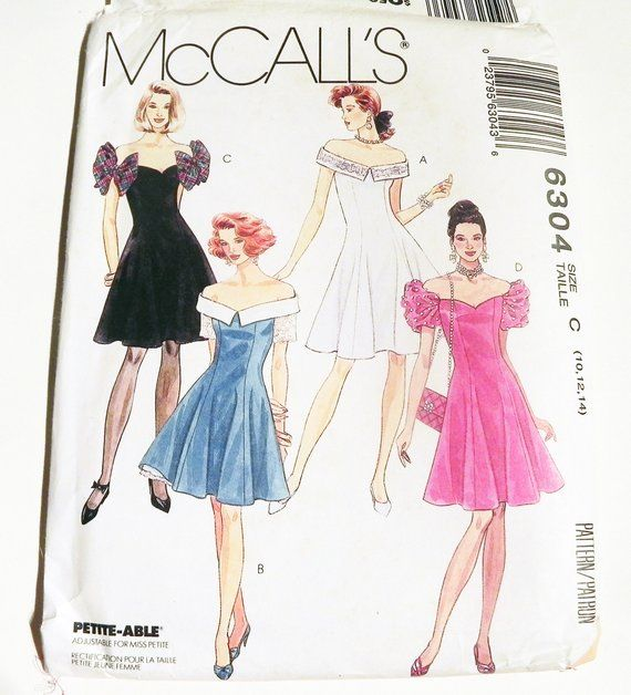 c346e70e7382 1990s Off the Shoulder Cold Fitted Prom bridesmaid dress strapless sewing  pattern McCalls 6304 Size 10 12 14 Bust 32.5 34 36