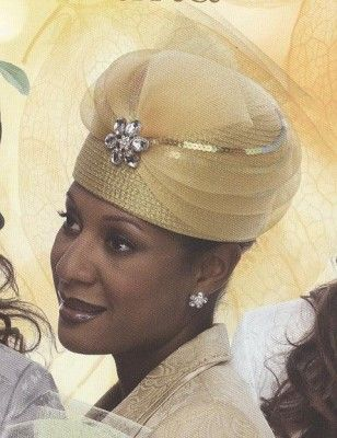 Formal Hats For Women In Metallic Gold With Broach And Net H960 Http