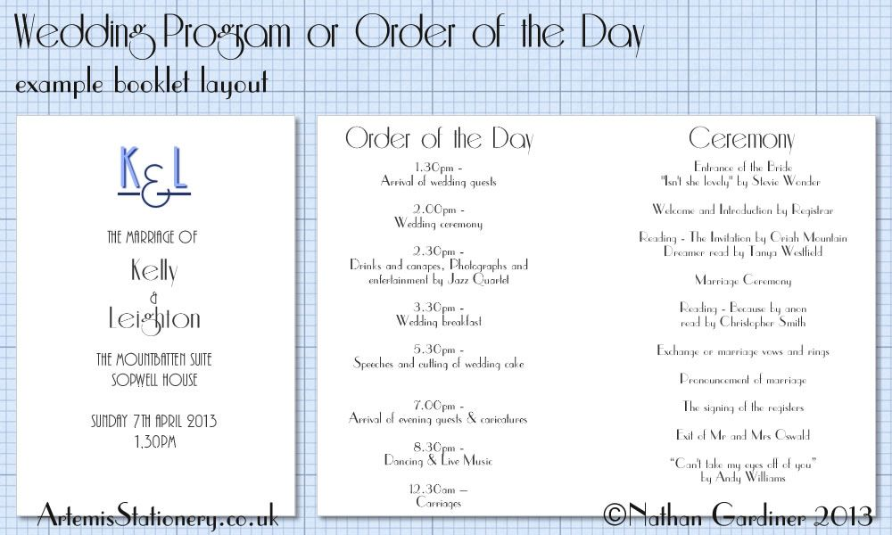 Example Inside Wedding Program Program Or Order Of The Day Booklet Wedding Programs Booklet Layout Wedding Inside